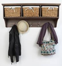 Coat Rack With Storage Baskets Tetbury Acacia Coat Hanger with 100 baskets 2