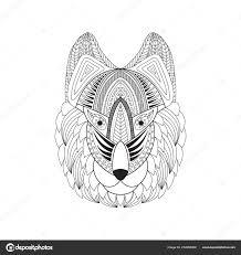 векторная иллюстрация рисунок головы волка каракули голову волка