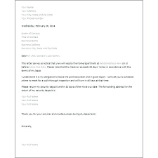 30 day notice to landlord form rental termination letter to tenant terminate tenancy ending