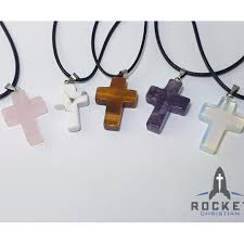crystal clear natural stone cross necklace handcrafted women s fashion accessories on carou