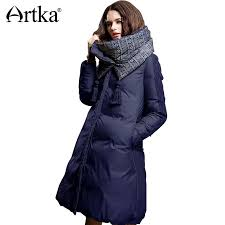 2019 2019 artka winter jacket women 90 duck down coat 2018 warm parka female long down jacket quilted coat with removable scarf zk15357d from wear0