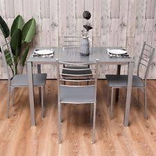 5pcs dining room red gl and metal table 4 chairs silver gray furniture