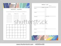 Monthly Planner Plus Weekly List Templates Stock Vector 465004499 ...
