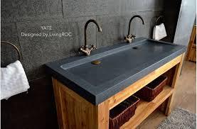 gray granite stone double bathroom sink