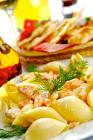 asparagus and smoked salmon pasta in lemon pistachio vinaigrette