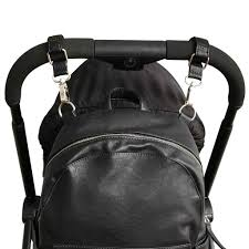 vanchi vegan leather pram caddy bag clips black