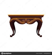 Flache Vektor Icon Des Antiken Holztisch Für Esszimmer
