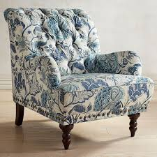 Blue Patterned Chair Cool Chas Indigo Blue Floral Armchair Pier 48 Imports