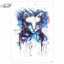 1 Pc Beaut Bleu Dessin Color Chat Image Conception Tatoo