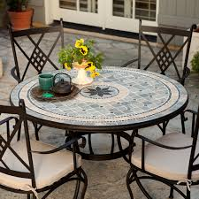 belham living barcelona 48 in round mosaic patio dining set seats 4 dining table 4 dining