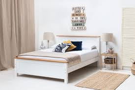 Rostherne White Solid Wooden Panel Bed Frame - Single/Double/King Size