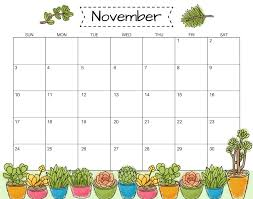 Calendar Template With Picture Monthly November 2019 Calendar Template Pdf Printable