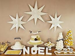 Christmas Party Buffet Table With Desserts And Decorations