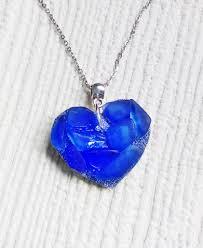 blue sea glass mosaic heart pendant