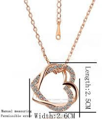 rose gold diamond double heart pendant necklace charm jewelry women sweater chain gift for wife souq uae