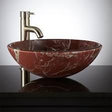 led red glass vessel sink bathroom