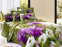 purple green flower fl bedding comforter set queen size bedspread duvet cover sheets bed in a bag sheet quilt linen cotton home texile bedclothes