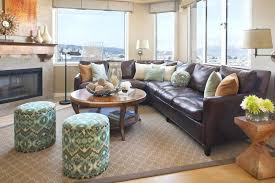 area rug with brown couch excellent throw pillows for leather couch living room eclectic with area