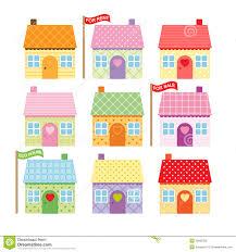 Set Of Cute Cartoon Houses For Sale Stock Vector