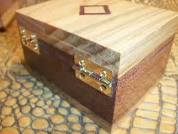 custom made wooden trinket box with hinge lid and inlay