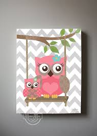 canvas prints for baby room. Owl Decor Girls Wall Art - OWL Canvas Art, Baby Nursery With Swing 10x12 Woodland Whimsical Prints For Room I