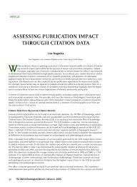 Pdf Assessing Publication Impact Through Citation Data Citation