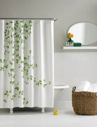 interior white green fabric shower curtain on stainless hook connected by white grey wall