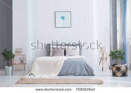 Soothing Gray And Blue Color Palette For Balanced Bedroom In Cozy Flat  Interior With Plants And