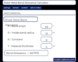 Bend Allowance Chart For Sheet Metal Sheet Metal Bend Allowance Calculator