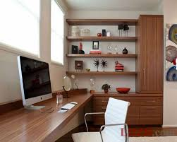 wall shelves office. Office:Chic Home Office Decor With Brown Wood Solid Computer Desk And Comfortable Leather Wall Shelves