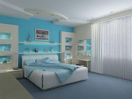 mixing paint colors bright blue for modern bedroom decor with types of gypsum board false ceiling
