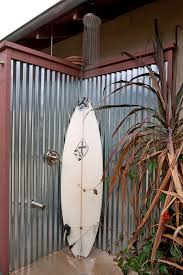 corrugated metal ceiling ideas patio beach style with surf board outdoor shower colored concrete