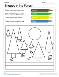 9. kindergarten math worksheets shapes in the forest, math ...