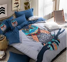 Queen owl bedding set king size cartoon quilt duvet doona cover ... & Queen owl bedding set king size cartoon quilt duvet doona cover double blue  bed in a bag sheet bedroom bedsheets cotton thick-in Bedding Sets from Home  ... Adamdwight.com