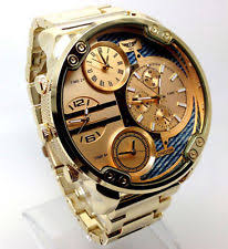 mens oversized watch 100a men mr daddy wrist watch gold band big multi time oversized chronograp dial