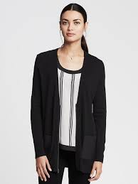 banana republic faux leather pocket zip cardigan
