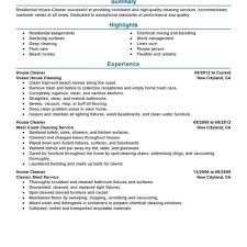 Cleaner Resume Best Residential House Cleaner Resume Example