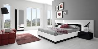 Solid Wood Contemporary Bedroom Furniture Modern Custom Bedroom Sets Solid Wood Construction Black And White