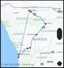 Namibia Distance Chart What Is The Distance From Walvis Bay Namibia To Ongwediva