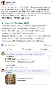 """Kyu Ho Youm on Twitter: """"FOI panel on access to gov't records for the WHAT  IS INFORMATION? cyberconference, https://t.co/UIPHdJsmd9, May 2 at 10:30 AM  PDT. Moderator: @tgleason. Speakers: @mfenster21, @MalheurNews's Les Zaits,  @"""