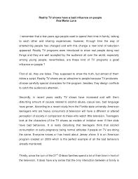 reality tv essay good bad reality tv essay teen opinion essay teen ink