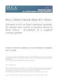 literature review on linear regression equations for relating water activity to moisture content in fl honeys development of a weighted average