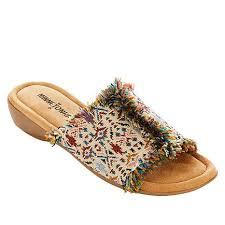 Minnetonka Violet Frayed Fabric Slide Sandal