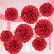 Crepe Paper Flower Balls Valentine Red Tissue Paper Flower Pom Pom Balls 12 And 14 Inch Holiday Party Favor Flower Balls Hanging Decor Party Decoration 8 Pack Great Diy Kit