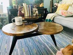 wood and metal multi level coffee table