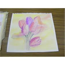 easy watercolor paintings watercolor tulips watercolor leaves