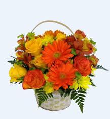 Basket Flower Decoration Your Florist Yf3201 Yellow And Orange Flower Basket Round Flower