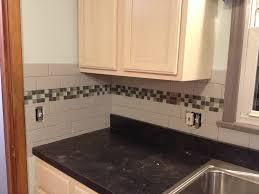 Accent Tiles For Kitchen Subway Tile Backsplash With Glass Tile Accent Love My Kitchen