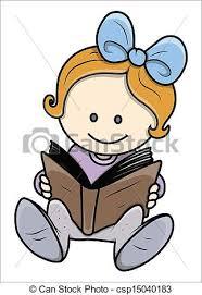 cute little reading a book csp15040183