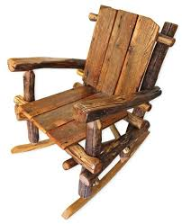 rustic rocking chair wooden wood furniture chairs reclaimed cabin decor log lake house nursery